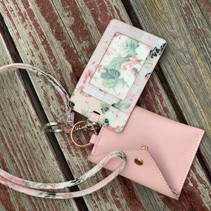 Pink ID holder & mini wallet